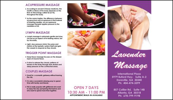 lavender massage brochure design